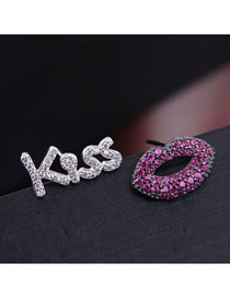 Fashion Silver + Rose Red Letter Lips Asymmetric Earrings