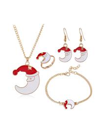 Serie De Navidad De Metal Collar De Cuatro Piezas Pendientes Anillo Pulsera