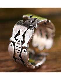 Fashion Silver Tropical Fish Opening Ring