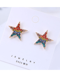 Fashion Color 925 Silver Needle Flash Drill Five-pointed Star Stud Earrings