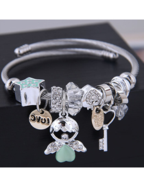 Fashion Green Metal Angel Doll Key Bracelet