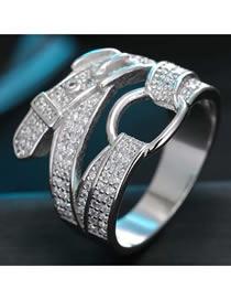 Fashion White K Inlaid Zircon Belt Buckle Ring