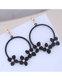 Fashion Black Metal Ring Blossoming Petal Earrings