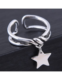 Fashion Silver Pentagram Open Ring