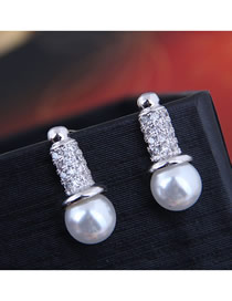 Fashion Silver 925 Silver Pin Copper Micro Inlaid Zircon Earrings
