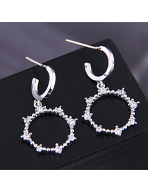 Fashion Silver Copper Micro-inlaid Zirconium Ring Earrings