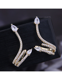 Fashion Gold Copper Micro-inlaid Zirconium Snake Earrings