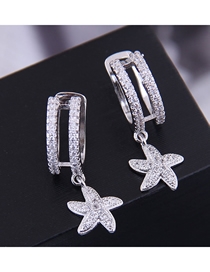 Fashion Silver 925 Silver Needle Copper Micro-inlaid Zircon Starfish Ear Clip