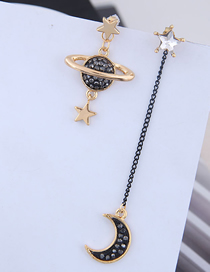 Fashion Gold 925 Silver Needle Copper Micro-inlaid Zircon Saturn Meniscus Asymmetrical Earrings