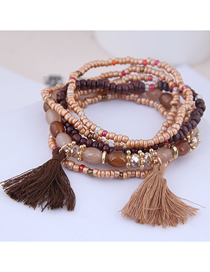 Fashion Gold Mizhu Tassel Multi-layer Bracelet