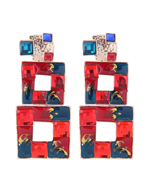 Fashion Color Metal Square Ear Stud