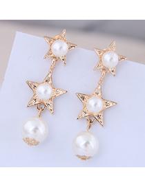 Fashion Gold Pentagram Pearl Stud Earrings