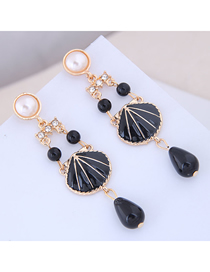 Fashion Black Metal Contrast Color Earrings