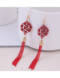 Fashion Red 925 Silver Needle Blessing Tassel Earrings