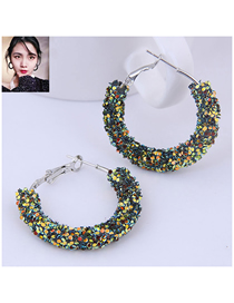 Fashion Green Sequin Ear Studs