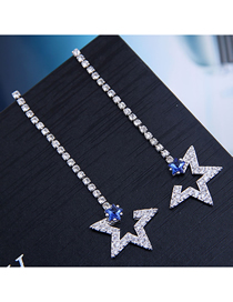 Fashion Silver 925 Silver Needle Flash Diamond Star Stud Earrings