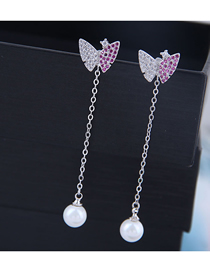 Fashion Silver 925 Silver Needle Copper Micro-inlaid Zircon Butterfly Pearl Stud Earrings