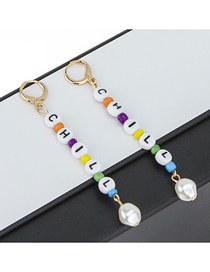 Fashion Gold Alloy String Resin Letter Pearl Earrings