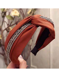 Fashion Red Wine Cross Knotted Diamond Wide-brimmed Headband