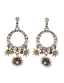 Fashion Gold Metal Flash Diamond Flower Earrings