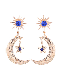 Fashion Gold Metal Star Moon Earring