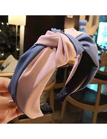 Fashion Pink + Blue Two-color Knotted Wide-brimmed Headband