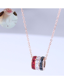 Fashion Rose Gold Titanium Steel Ring Necklace