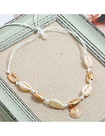 Fashion Golden Shell And Shell Woven Necklace