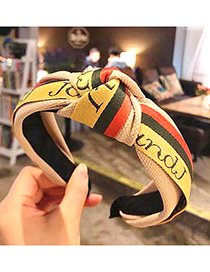 Fashion Beige Striped Contrast Color Letters Knotted Hoop