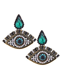 Fashion Black Eye Drop Studs With Diamonds