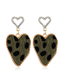 Fashion Green Double Peach Heart Stud Earrings With Diamonds