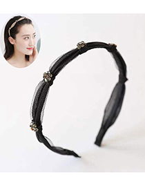 Fashion Black Knotted Flower Hoop With Diamonds
