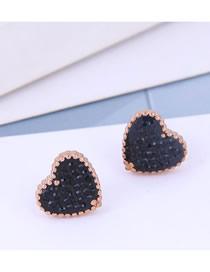Fashion Black Love Heart Stud Earrings