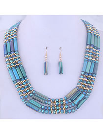 Fashion Blue Metal Crystal Bead Contrast Necklace Earring Set