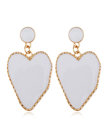 Fashion White Irregular Love Oil Stud Earrings