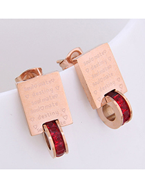 Fashion Red Bible Letter Geometric Stud Earrings