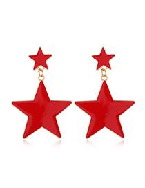 Fashion Red Pentagram Acrylic Stud Earrings