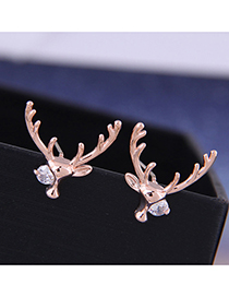 Fashion Rose Gold Christmas Deer Earrings With Diamonds