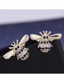 Fashion Golden Bee Stud Earrings With Diamonds