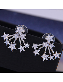 Fashion Silver Star Stud Earrings With Diamonds