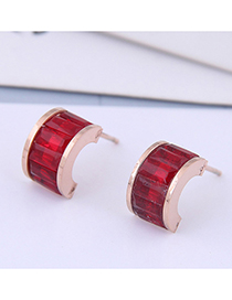 Fashion Titanium Steel + Drill Rose Gold Titanium Steel Zircon C-shaped Stud Earrings