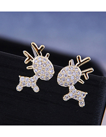 Fashion 925 Silver Needle + Copper + Zircon Fawn Earrings With Diamonds