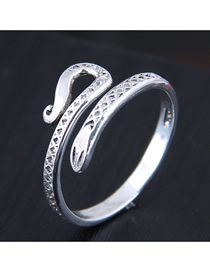 Fashion Silver Diamond Open Snake Geometric Ring