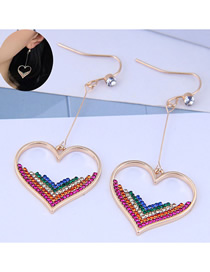 Fashion Color Love Heart Pierced Earrings With Diamonds