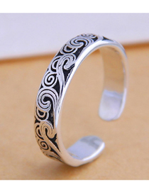 Fashion Silver Embossed Alloy Split Ring