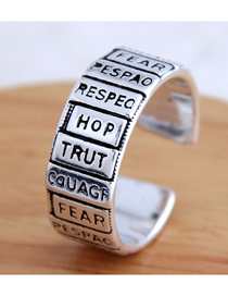 Fashion Silver Letter Wide Bezel Alloy Split Ring