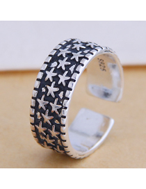 Fashion Silver Twinkling Star Embossed Wide Open Ring