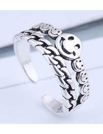 Fashion Silver Smiley Openwork Chain Ring