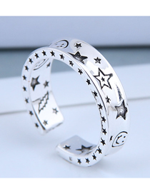 Fashion Silver Smiley Starry Open Ring