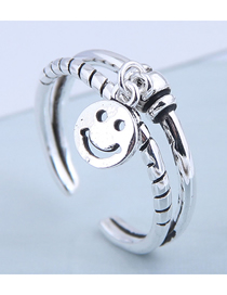 Fashion Silver Smiley Cutout Open Ring
